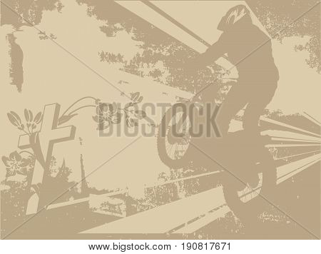 Abstract illustration of motorcycle racer and the cross