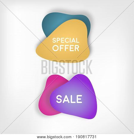 Ecommerce bright vector banner. Papper shapes  in material design style. Blue and yellow, pink and purple papers. Stock vector.