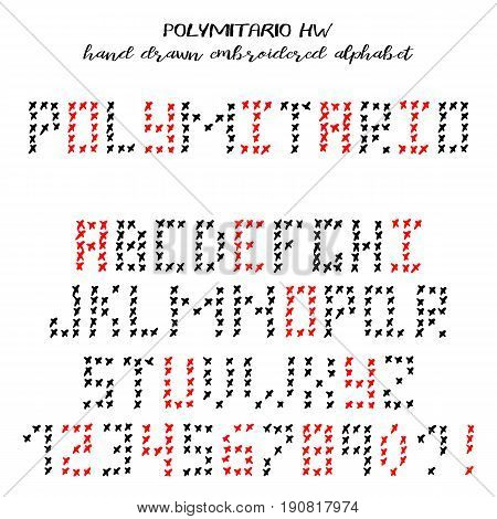 Hand drawn alphabet written grunge font with knitted letters sans serif: capital basic latin letters and numbers. Polymitario hand written font. Vector illustration