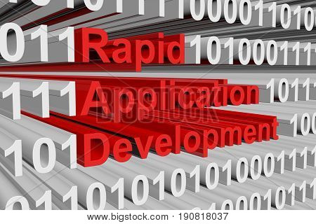 rapid application development is presented in the form of binary code 3d illustration