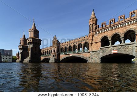 The Oberbaum Bridge between Kreuzberg an Friedrichshain in Berlin