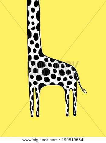 The tallest Giraffe hand drawn vector illustration