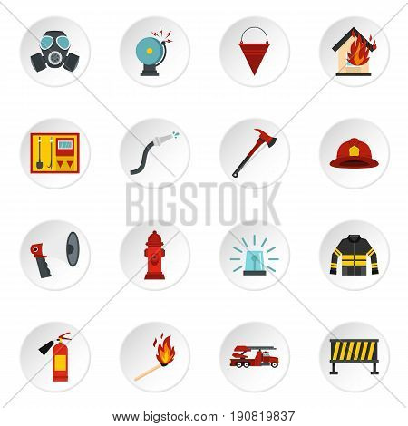 Fireman tools set icons in flat style isolated on white background