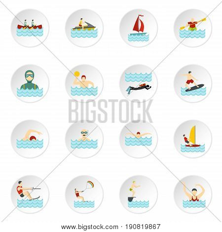 Water sport set icons in flat style isolated on white background