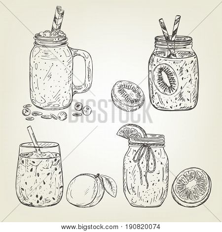 Graphic sketch of different smoothie icons. Vector mango, kiwi, blueberry, grapefruit and line beverages. Fruity set used for poster, card, menu or recipe book design.