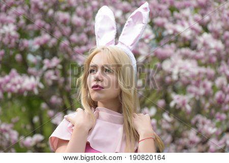 Girl With Bunny Ears On Long, Blond Hair