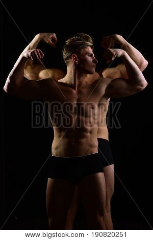 Young People Of Men Twins, Fitness Health, Gym And Energy