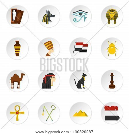 Egypt travel items icons set in flat style isolated vector icons set illustration