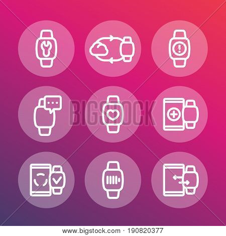 smart watch line icons set, synchronization with cloud or smartphone, wearable device, configuration, charging
