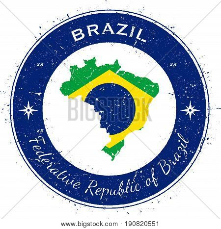 Brazil Circular Patriotic Badge. Grunge Rubber Stamp With National Flag, Map And The Brazil Written