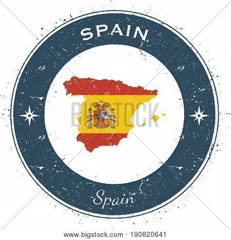 Spain Circular Patriotic Badge. Grunge Rubber Stamp With National Flag, Map And The Spain Written Al