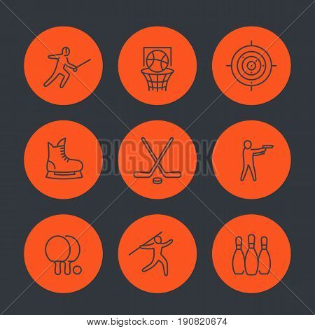 sports, games, team sport line icons set, fencing, hockey, skating, ping pong, basketball