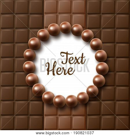Vector chocolate bars flat lay frame with ball candies and place for text or copyspace close up top view