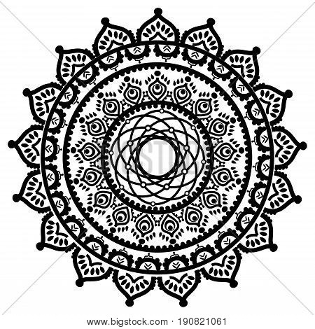 Asian culture inspired mandala in the shape of the native culture inspired dreamcatcher  made out of swirly elements  in  black ans white symbolizing happiness, love and spiritual life