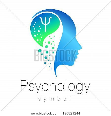 Modern head sign of Psychology. Profile Human. Letter Psi. Creative style. Symbol in vector. Design concept. Brand company. Blue color isolated on white background. Icon for web
