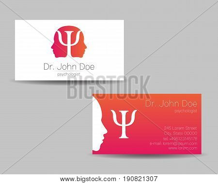 Psychology vector visit card. Modern logo. Creative style. Design concept. Brand company. Pink color isolated on gray background. Symbol for web, print. visiting personal set illustration