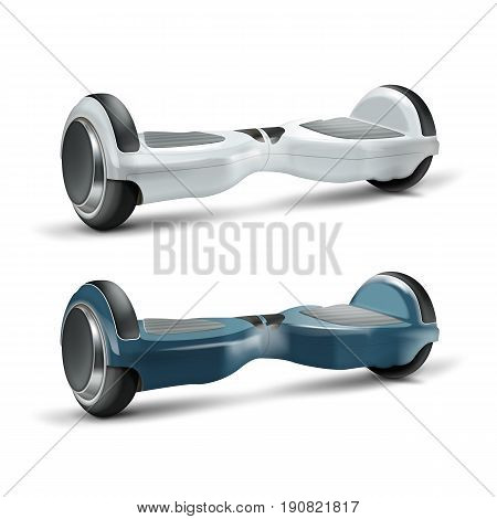 Vector set of white and dark blue gyroscopes or hoverboards close up isolated on background