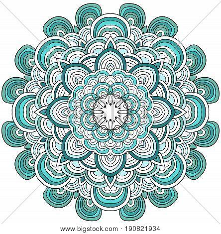 Ornamental pattern round. Lace mandala. Vector. Rose quartz and serenity colors.