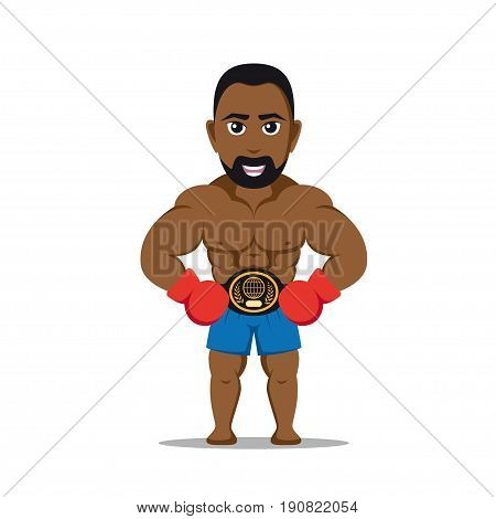 picture a strong athlete man with boxing gloves isolated on white background