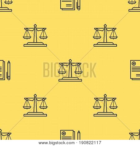 Vector seamless pattern with linear icons of justice scales and documentation on light yellow background