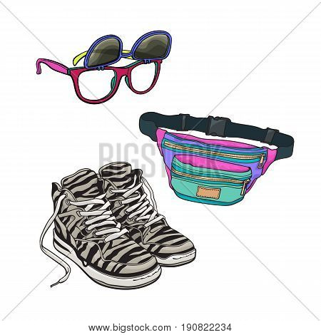 90s fashion accessories - sneakers, sunglasses with removable lenses, waist bag, sketch vector illustration isolated on white background. Retro fashion - sneakers, removable lens sunglasses, waist bag