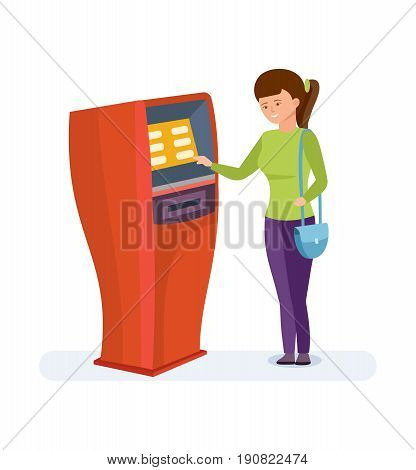 The girl uses the financial services of the bank terminal for her personal purposes in cartoon style. Vector illustration isolated people cartoon style