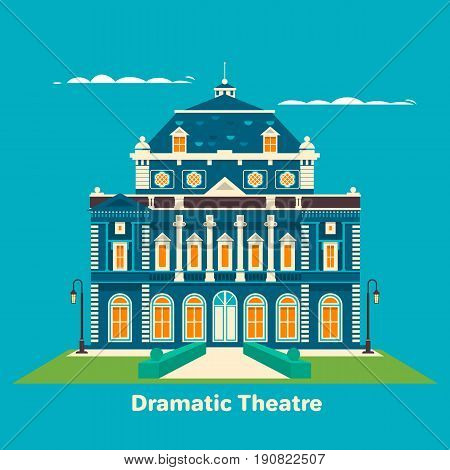 Grand theatre or theatre. Building for entertainment. Great for landmark and culture leisure, performance theme. Flst vector illustrator