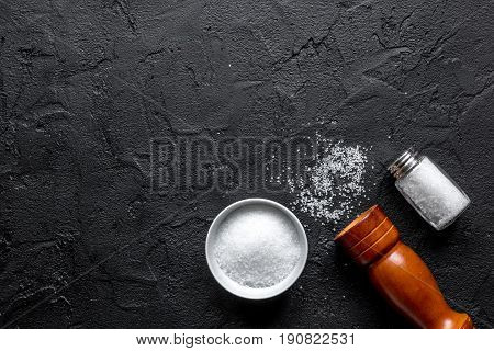 Spices Set With Salt And Saltcellar For Cooking On Stone Background Top View Mockup
