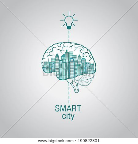 City - brain, the concept of smart city, using modern innovative technology, advanced intelligent services augmented reality social networks Internet of things