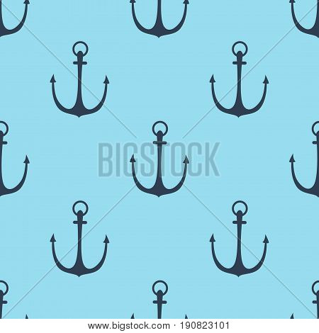 Seamless vector pattern with anchors sea texture decoration marine. Seamless anchor pattern nautical wallpaper fills web page background surface textures.