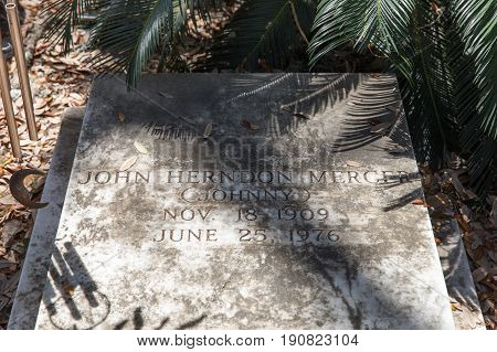 Savannah GA - March 28 2017: Johnny Mercer gravesite in historic Bonaventure Cemetery Savannah. Mercer was a lyricist songwriter singer co-founder of Capital Records and 4-time Academy Award winner.