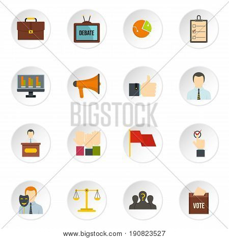 Election voting icons set in flat style isolated vector icons set illustration