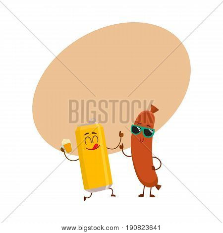 Funny beer can and frankfurter sausage characters having fun together, cartoon vector illustration with space for text. Funny smiling beer can character giving thumb up, sausage poiting to it