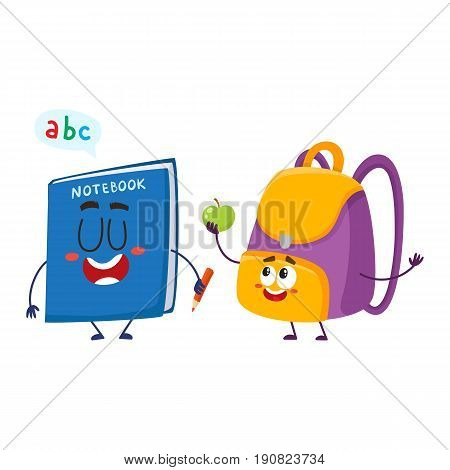 Cute and funny smiling backpack and notebook characters, back to school concept, cartoon vector illustration isolated on white background. Happy school bag, backpack and notebook characters, mascots