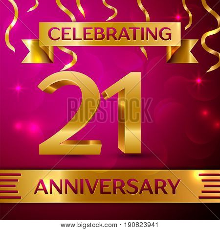 Twenty one Years Anniversary Celebration Design. Confetti and golden ribbon on pink background. Colorful Vector template elements for your birthday party. Anniversary ribbon