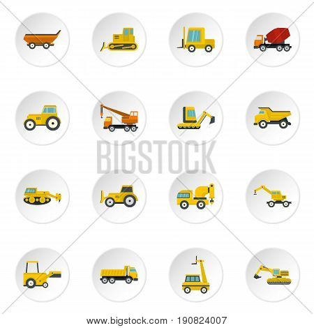 Building vehicles icons set in flat style isolated vector icons set illustration