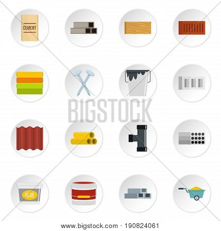 Building materials icons set in flat style isolated vector icons set illustration