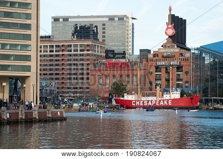 BALTIMORE, MARYLAND - FEBRUARY 18: View of The Inner Harbor in Baltimore, Maryland, USA on February 18, 2017