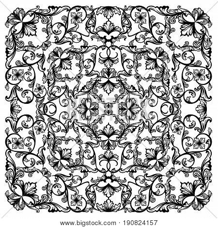 black and white vector floral background - flowers swirled together in the form of square