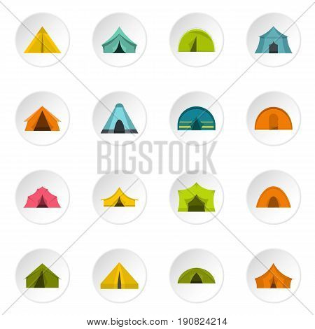 Tent forms icons set in flat style isolated vector icons set illustration