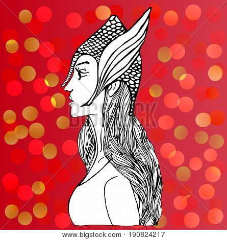 Vector warrior-girl in battle helmet. Uncolored picture for adult coloring book. Red party background.