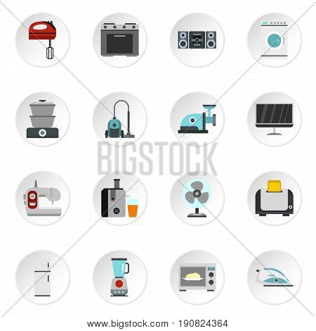 Household appliance icons set in flat style. Consumer electronics set collection vector icons set illustration