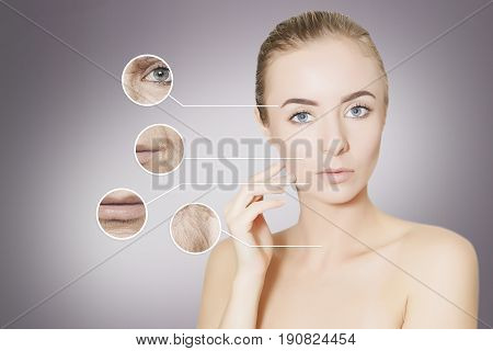 woman portrait isolated for design with graphic circles of old skin