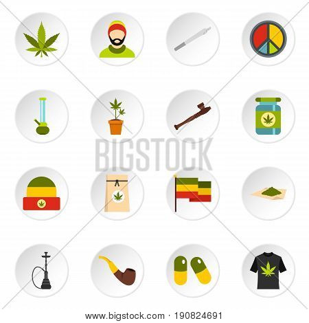 Rastafarian icons set in flat style. Marijuana smoking equipment set collection vector icons set illustration