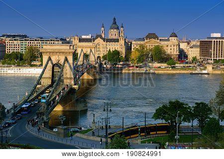 Danube embankment of Pest, with the Gresham Palace, today Four Seasons Hotel, Sofitel Hotel, and the St. Stephen Basilica. Budapest, Hungary, Europe