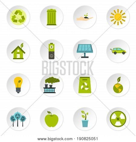 Ecology icons set in flat style. Environmental, recycling, renewable energy, nature elements set collection vector icons set illustration
