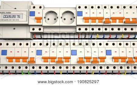 Circuit breakers socket and electric meter are on a white background (3d illustration).