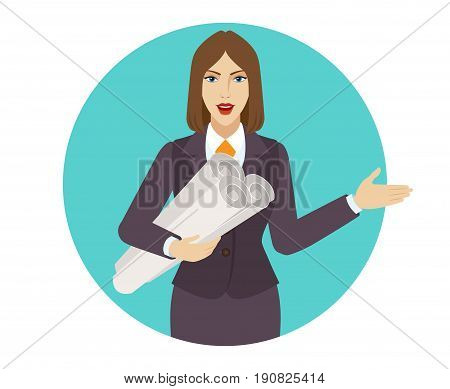 Businesswoman holding the project plans showing something beside of her. Portrait of businesswoman in a flat style. Vector illustration.