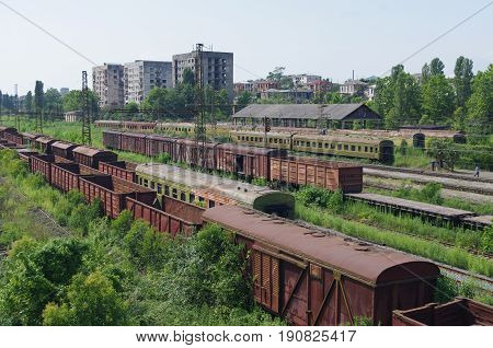 The rusty trains abandoned on railway tracks