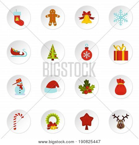 Christmas icons set in flat style. Xmas elements set collection vector icons set illustration
